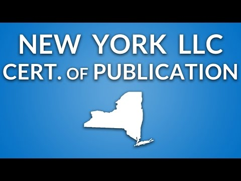 New York LLC - Certificate of Publication