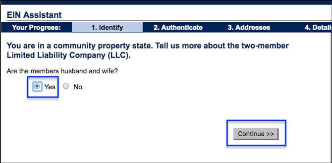 Apply for EIN LLC Online Husband and Wife