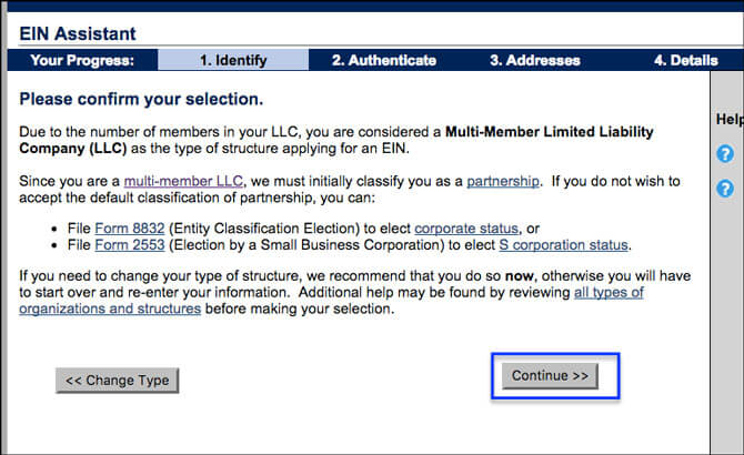 Apply for EIN LLC Online Confirm Multi-Member