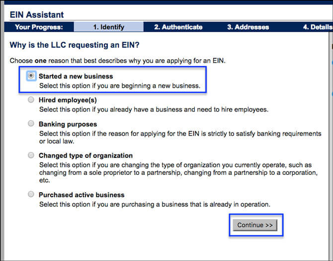 Apply for EIN LLC Online Started Business