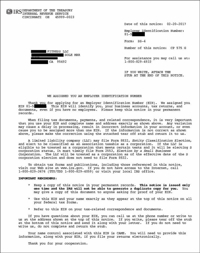 IRS CP575 EIN Confirmation Letter for LLC Page 1