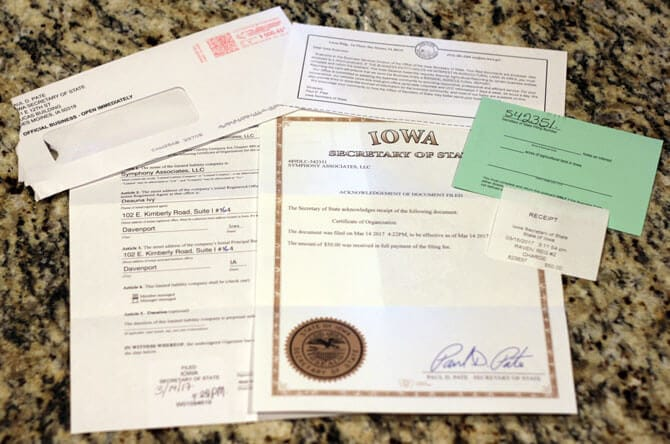 Iowa LLC Approval Documents by Mail