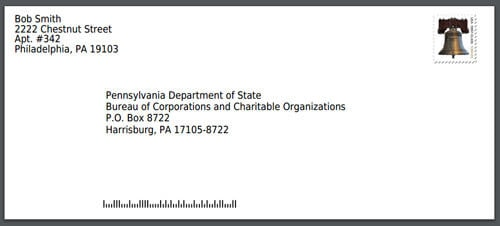 Mailing Address PA Bureau of Corporations Envelope