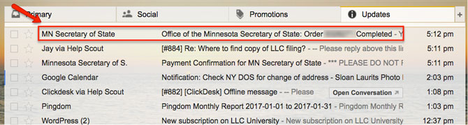 Minnesota LLC Email Subject Line MN Secretary of State