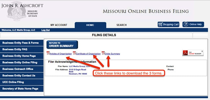 Missouri LLC Approval Certificate and Articles of Organization