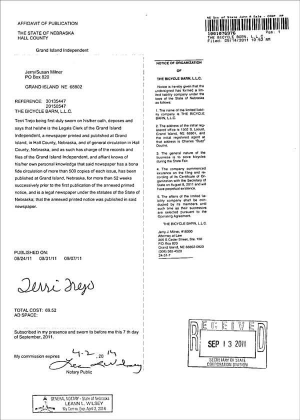 Nebraska LLC Affidavit of Publication from Newspaper