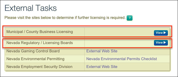 Nevada LLC Municipal County License