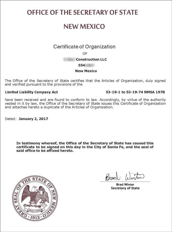 Form A New Mexico LLC Articles Of Organization Stepbystep - New mexico llc operating agreement