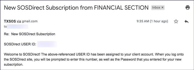 Texas LLC Online Filing SOSDirect Email