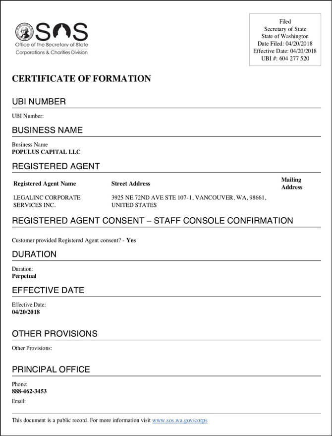 Washington LLC Approval Certificate of Formation Fulfilled