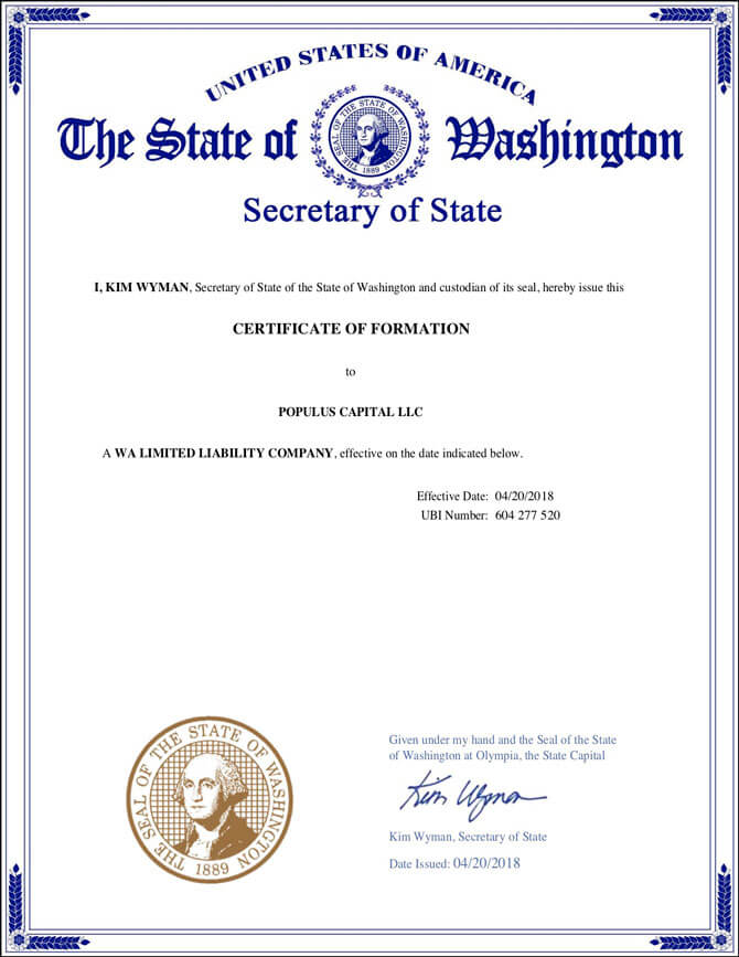 Washington LLC Approval Certificate of Formation