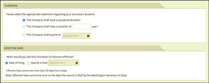 Washington State LLC Duration and Effective Date