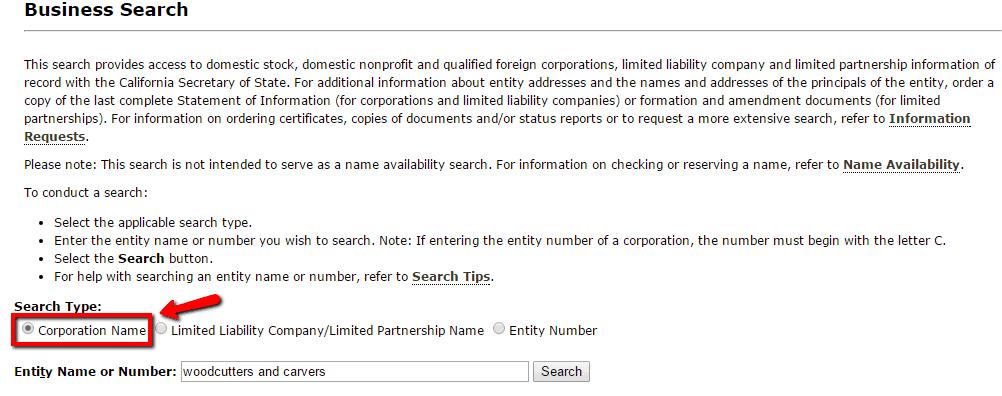 california llc name search