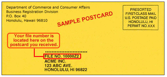 hawaii llc annual report reminder postcard