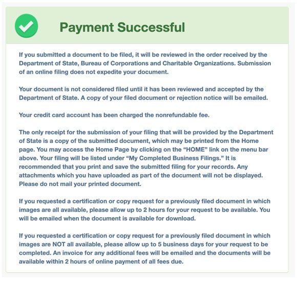 Payment successful PENN File
