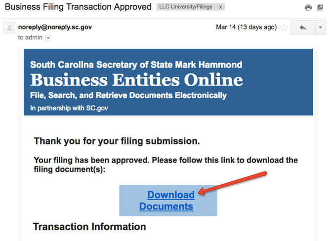 South Carolina LLC Online Filing Email Approval